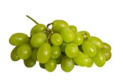 Bunch of grapes. Bunch of green grapes on white background Stock Photography