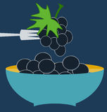 Bunch of grapes. Blue plate concept stock illustration