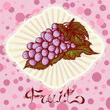 Bunch of grapes color drawing card Royalty Free Stock Photo