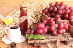 Bunch of grapes fruit  juicy fresh delicious and red wine. Royalty Free Stock Images