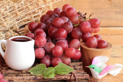 Bunch of grapes fruit  juicy fresh delicious and red wine. Stock Photos