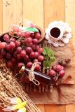 Bunch of grapes fruit  juicy fresh delicious and red wine. Stock Image