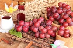 Bunch of grapes fruit  juicy fresh delicious and red wine. Royalty Free Stock Photography