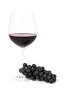 Bunch of grapes and glass of red wine Royalty Free Stock Photography