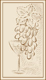 A bunch of grapes and a glass of wine. Vector illustration in graphic style with a bunch of grapes and a glass stock illustration