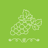 Bunch of grapes on a green background. Minimalism. Icon, logo wine. Stock Photo