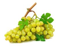 Bunch of grapes with green leaves. Isolated on white background Royalty Free Stock Photos