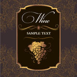 Bunch of grapes for labels of wine. For bottle Stock Illustration