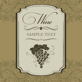 Bunch of grapes for labels of wine. For bottle Royalty Free Illustration