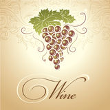 Bunch of grapes for labels of wine. For bottle cask barrel ceg Vector Illustration