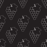 Bunch of grapes with leaf silhouette vector icon for food apps and websites. Seamless grape pattern stock illustration