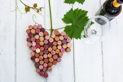 Bunch of grapes made of wine cork. Picture of stylized bunch of grapes made of wine cork Royalty Free Stock Images