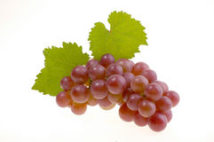 Bunch of grapes. Bunch of ripe red grapes with leaves isolated on white background Stock Photo
