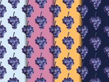Bunch of grapes. Set of seamless patterns. The pattern for wallp Royalty Free Stock Photo