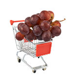 Bunch of grapes in a shipping cart Stock Photo