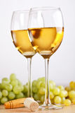 Bunch of grapes and white wine Royalty Free Stock Image