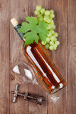 Bunch of grapes, white wine and corkscew Royalty Free Stock Images