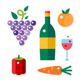 Bunch of grapes and wine bottle vector illustration. Stock Photo