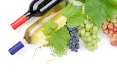 Bunch of grapes and wine bottles Stock Photo