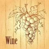 Bunch of grapes on wood background. Wine lable royalty free illustration