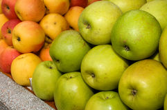 A bunch of green apples on the table in the market. Novi Sad, Serbia Stock Photo