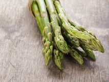 Bunch of green asparagus tied with twine Royalty Free Stock Photos
