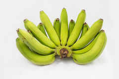 Bunch of green bananas isolated on white background Stock Image