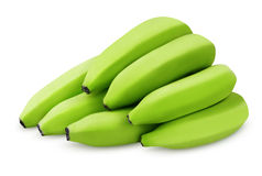 Bunch of green bananas isolated on white Royalty Free Stock Photography