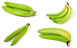 Bunch of green bananas isolated on white background. Set or collection stock image