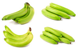 Bunch of green bananas isolated on white background. Set or collection royalty free stock images