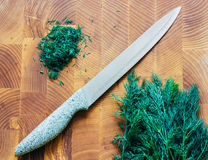 A bunch of green dill and a knife. Stock Photography