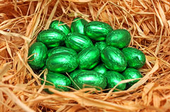 Green Easter eggs Stock Images