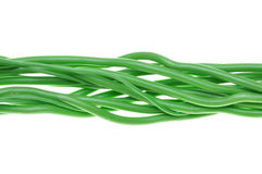Bunch of green electrical cables Stock Image