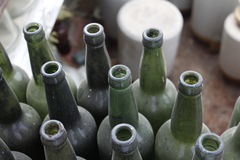 Bunch of Green Glass Bottle Royalty Free Stock Photo