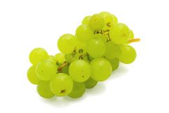Bunch of green grapes. On a white background royalty free stock images