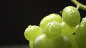 Bunch of green grapes on a black background with water drops stock video footage