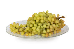 Bunch of green grapes on a glass plate Stock Photography