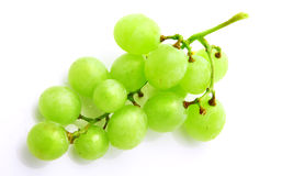 Bunch of green grapes isolated on white Stock Photos
