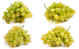 Bunch of green grapes isolated on white background. Set or collection stock photo
