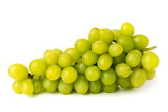 Bunch of green grapes on white background, closeup. stock photos