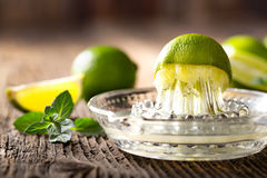 Bunch of green limes. Royalty Free Stock Image