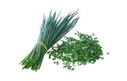 Bunch of a green onions and the cut onions Stock Image