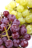 Bunch of green and red grapes on  white  Royalty Free Stock Images