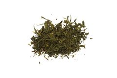 Bunch of green tea brewing on white background. Drink, isolate Stock Photography
