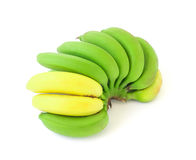 Bunch of green and yellow banana on white background. Bunch of green and yellow banana Royalty Free Stock Photos