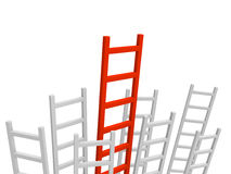 Bunch of grey ladders with longest red ladder in the centre. Stock Photos