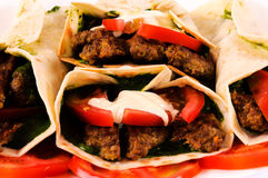 Bunch of gyros. Pita and vegetables Royalty Free Stock Image