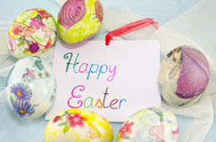 Bunch of handcolored decoupage Easter eggs Royalty Free Stock Photography