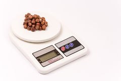 Bunch of hazelnuts on the digital scale Royalty Free Stock Images