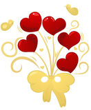 Bunch of hearts. Golden bouquet red hearts, butterflies, element for design,  illustration Stock Photo